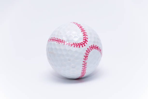 Golfball painted like a baseball ball golf balls stock photo