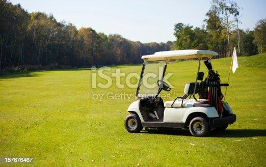 Golf-cart car on golf course landscape