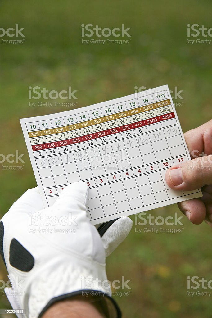 Golfer and Score Card stock photo