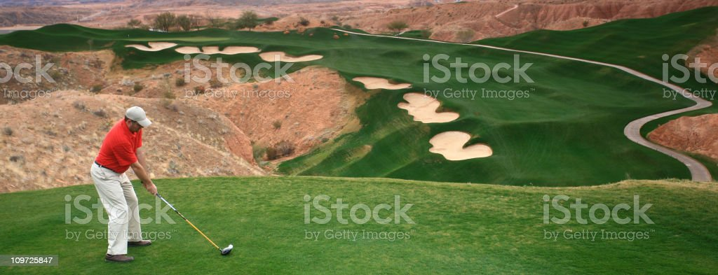 Golfer Driving Off The Tee royalty-free stock photo
