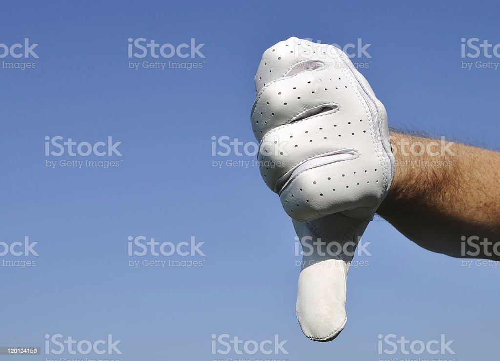 Golfer Giving Thumbs Down Sign stock photo
