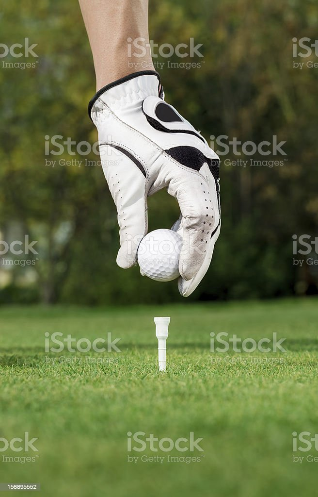 Golfer hand and ball royalty-free stock photo