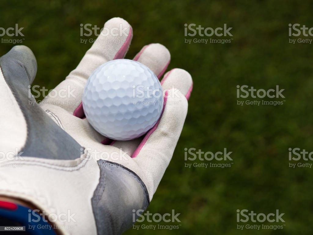 Golfer hand wearing golfer glove and holding golf ball on fairway...