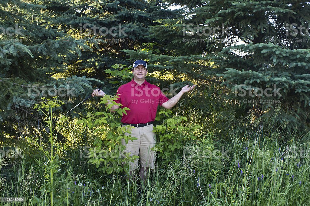 Golfer has lost his golf ball in the woods stock photo