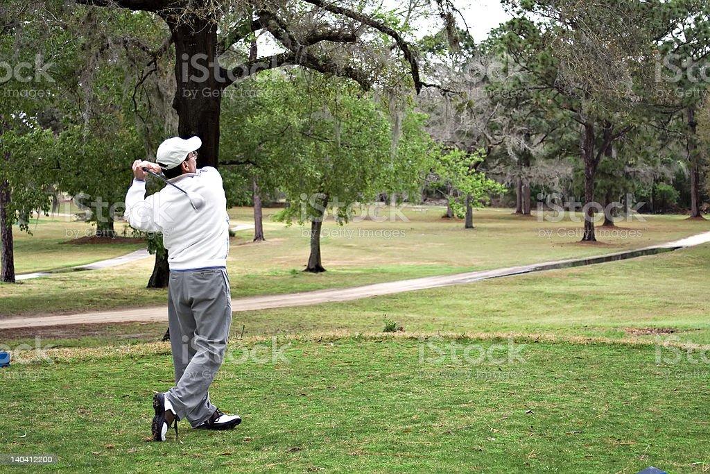 Golfer hits Drive royalty-free stock photo