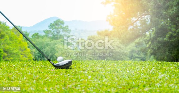 istock Golfer hitting on tee off zone in beautiful golf course 941375706