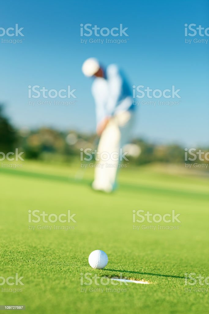 Golfer in putting green about to put the ball royalty-free stock photo