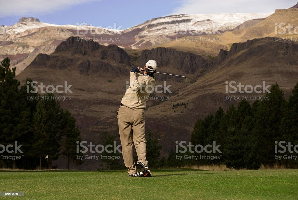 Golfer in the Andes stock photo