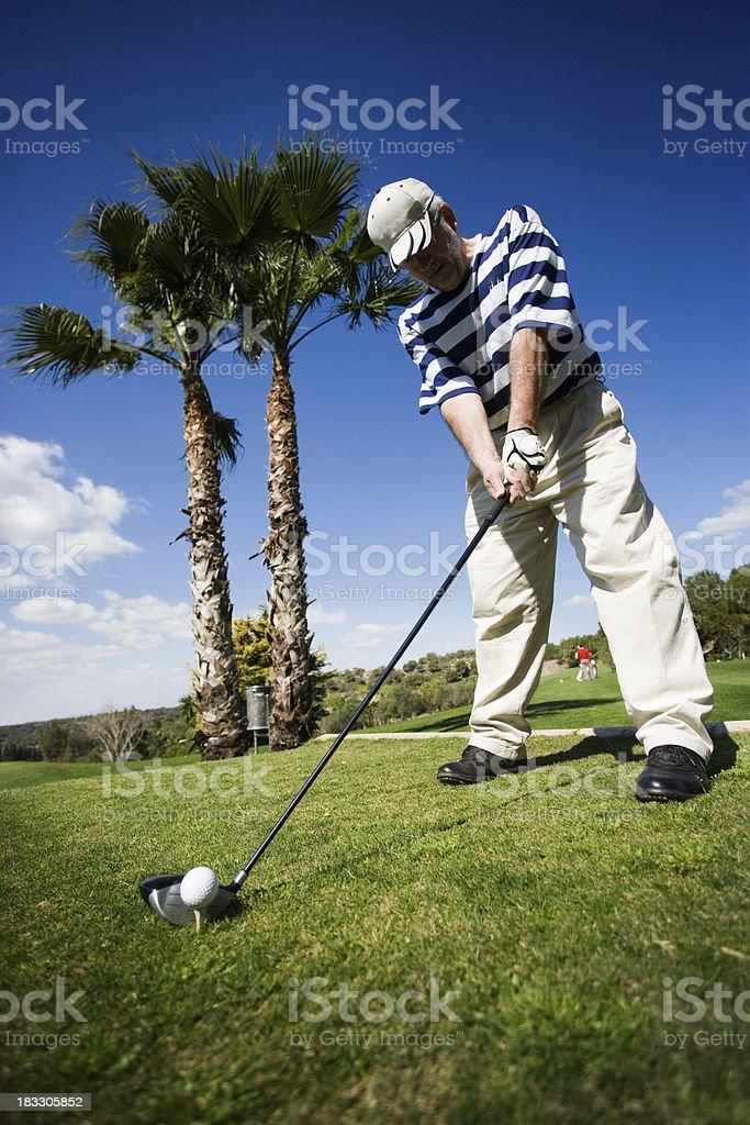 Golfer Lining Up royalty-free stock photo