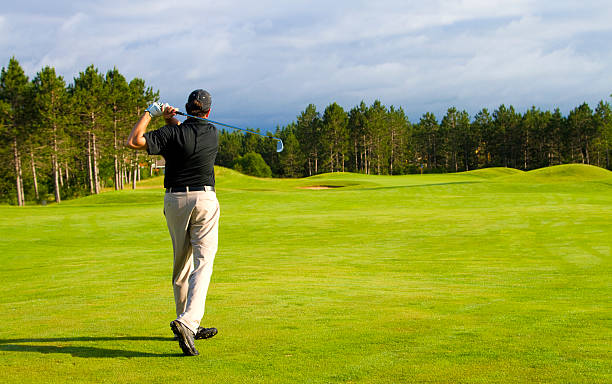 Golfer on a Michigan Golf course stock photo