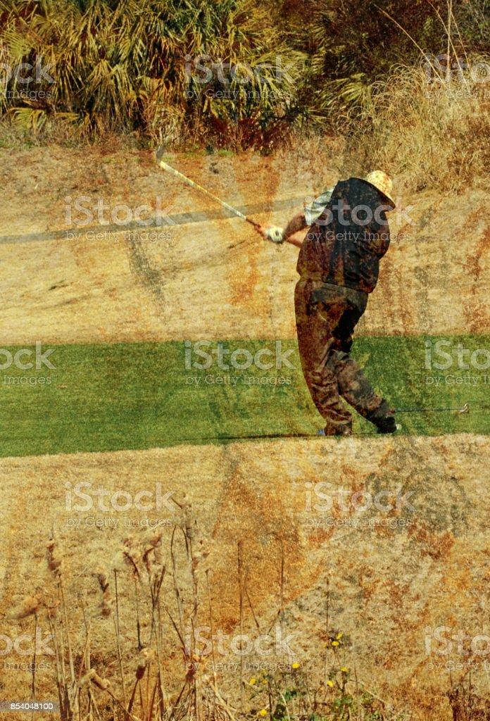 Golfer on Golf Course Vintage stock photo
