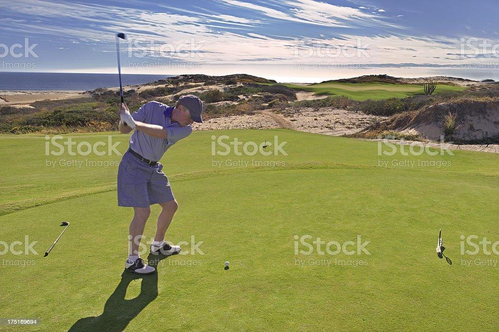Golfer on Tee, Dunes Golf Course, Cabo San Lucas stock photo
