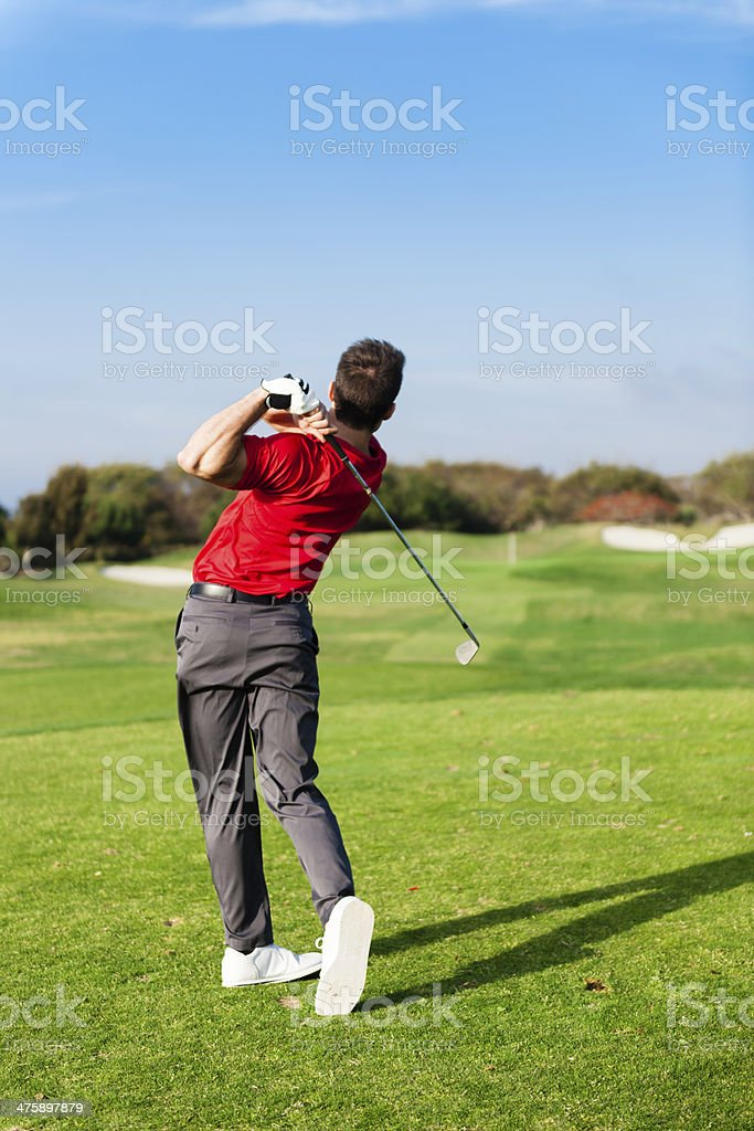 Golfer On The Course stock photo