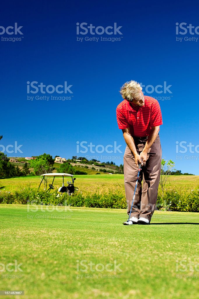 Golfer on the green putting royalty-free stock photo