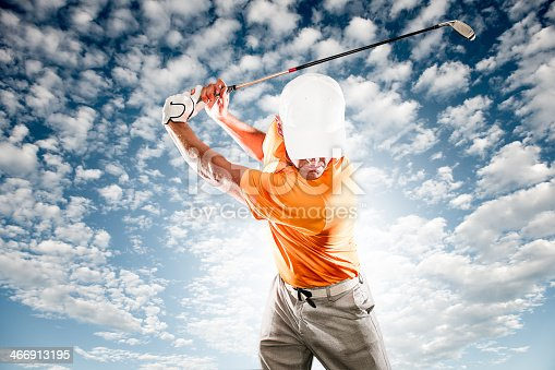 A golfer at the end of his swing with dramatic sky behind. http://blog.michaelsvoboda.com/GolfBanner.jpg