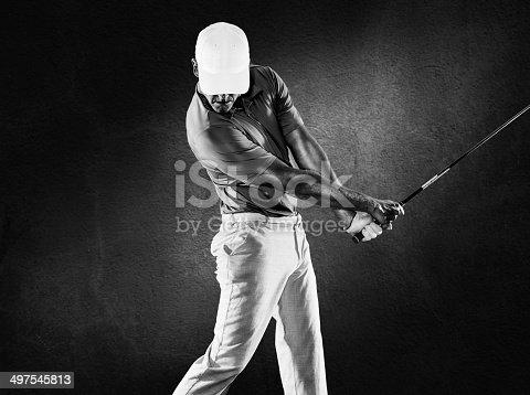 A golfer right after impact of the ball. http://blog.michaelsvoboda.com/GolfBanner.jpg