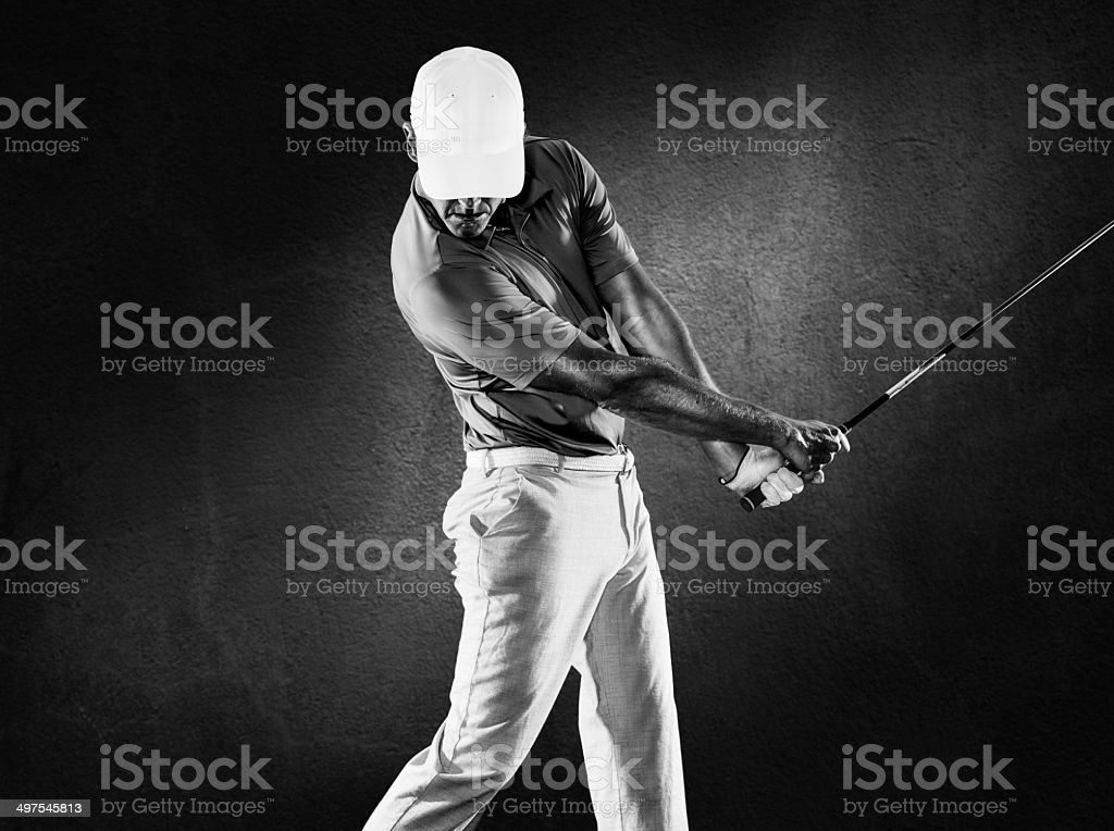 B&W Golfer stock photo