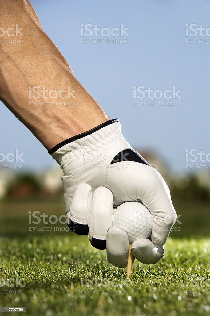Golfer Placing Tee and Ball stock photo