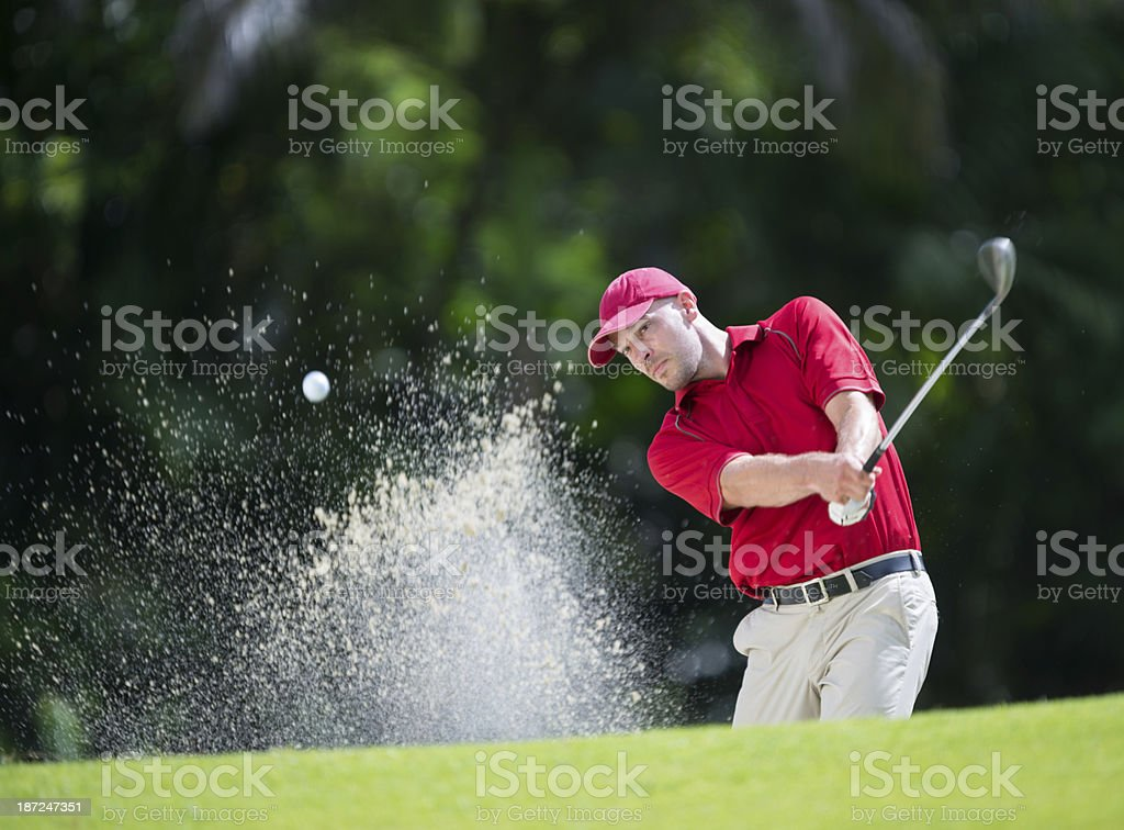 Golfer Playing Shot stock photo