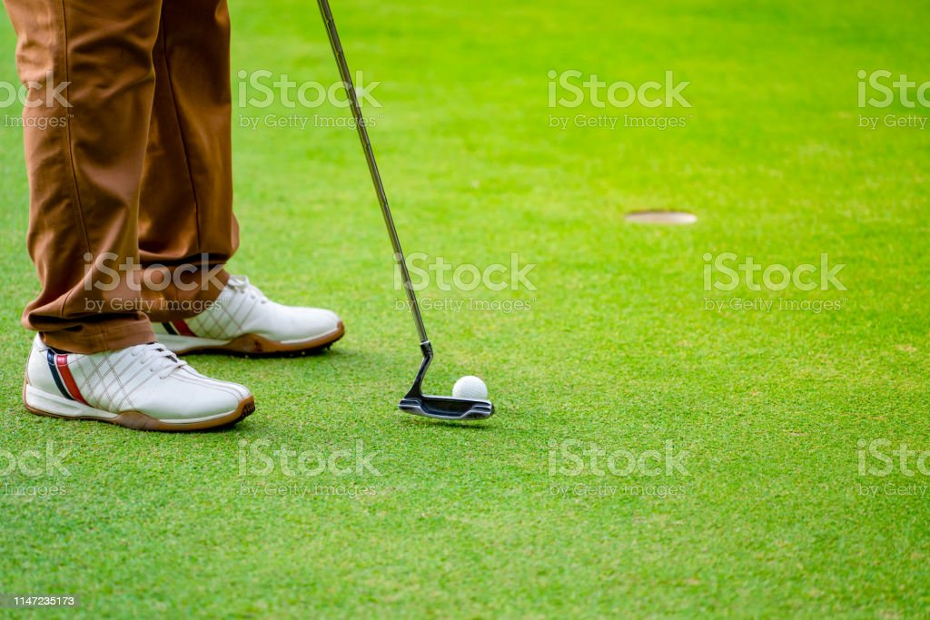 Golfer putting golf ball to hole on green grass of golf course