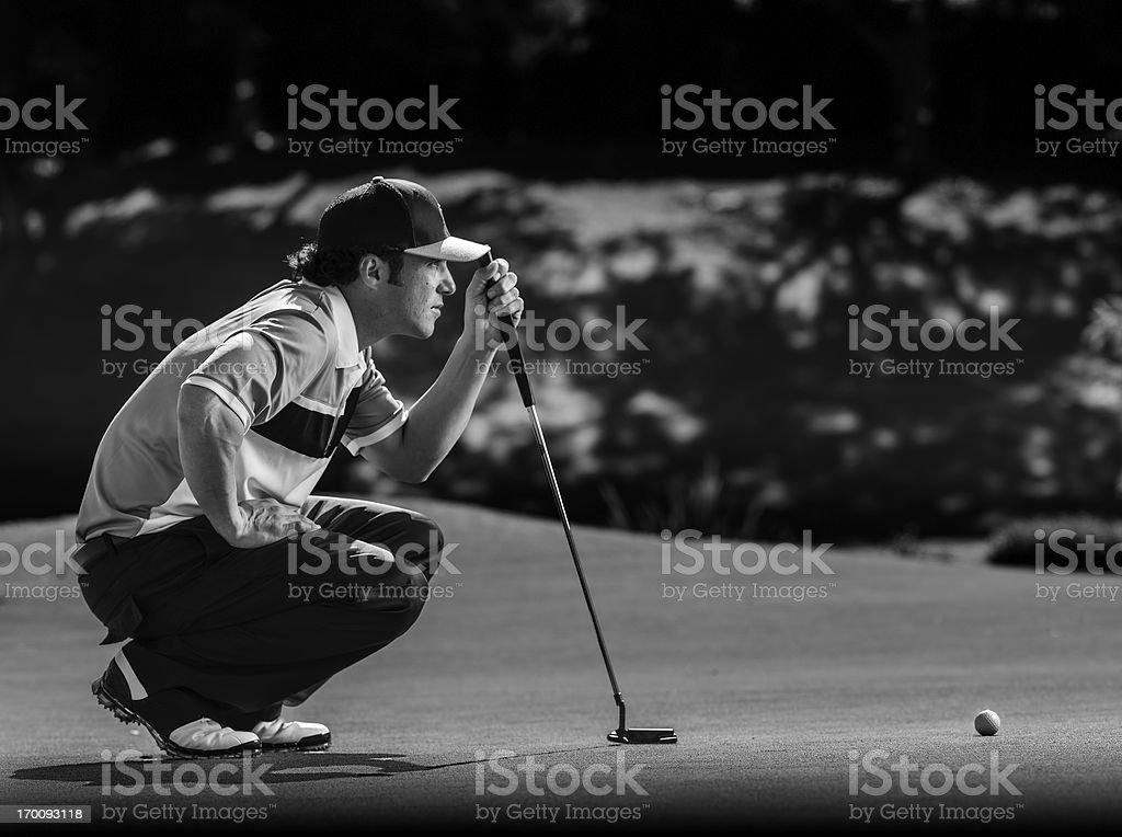 Golfer Putting stock photo