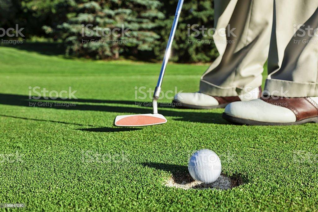 Golfer Sinking a Short Putt stock photo