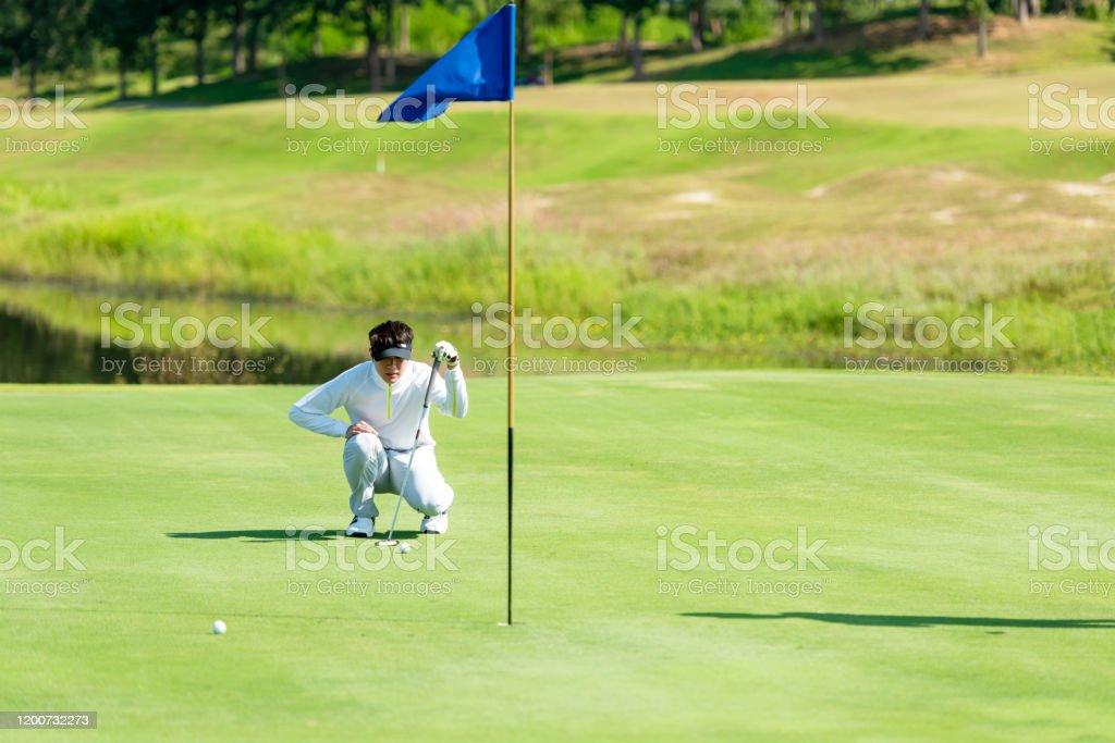 Golfer sport course golf ball fairway. People lifestyle man putting...