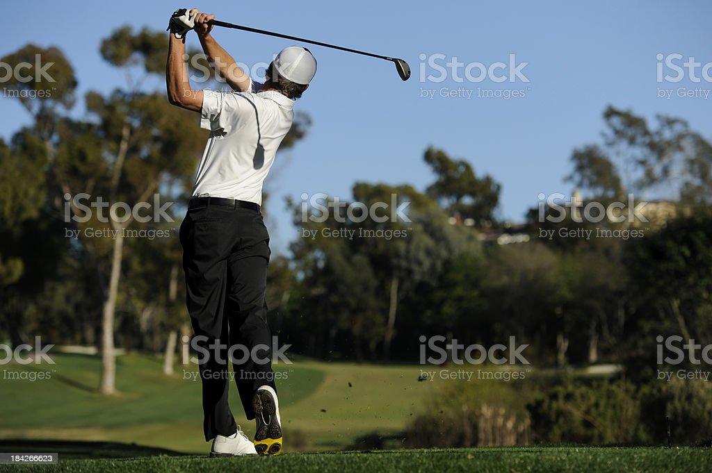 Golfer swing stock photo