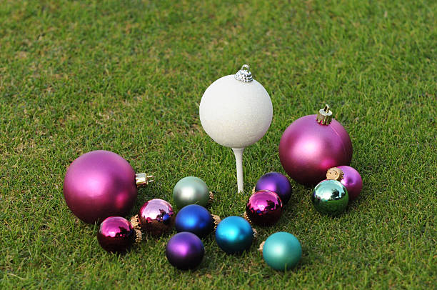 Golfer's Christmas with assortment of ornaments stock photo