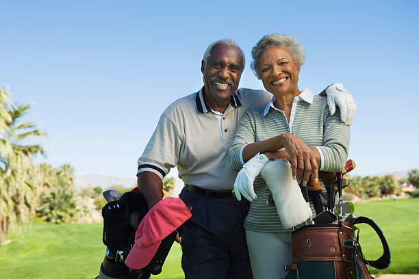golfers - active seniors stock photos and pictures