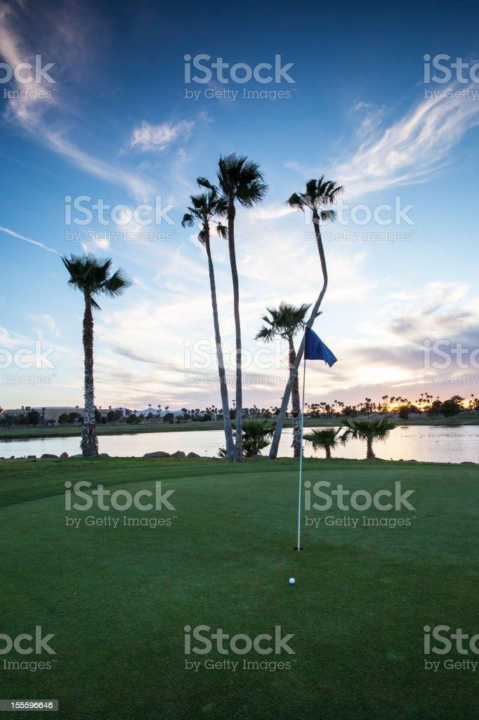 Golfing at Sunset royalty-free stock photo