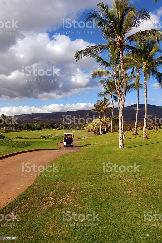 Golfing on Oahu, Hawaii royalty-free stock photo
