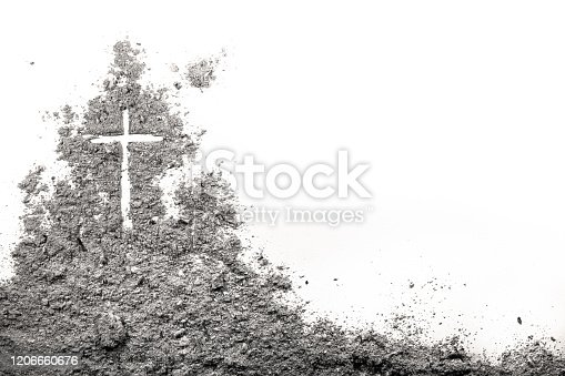 Golgotha hill with cross of Jesus Christ drawing made in ash, sand or dust as christian crucifixion calvary of God on Good Friday before Easter or Ash Wedneday concept