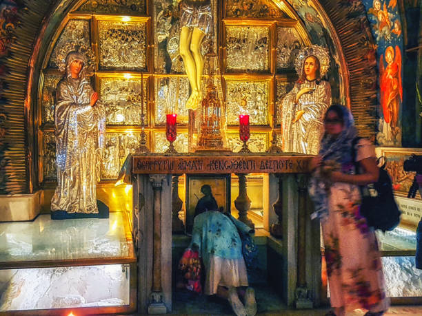 Golgotha in Aramic, Calvary in Latin The 12th Station of the Via Dolorosa at the Church of the Holy Sepulchre, the place of the Crucifixion, Jerusalem, Israel. stock photo