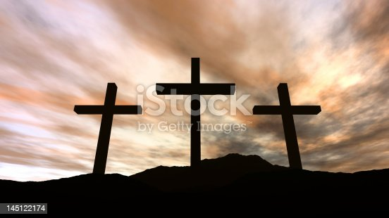 istock Golgotha - silhouette of three crosses on a hill with clouds 145122174