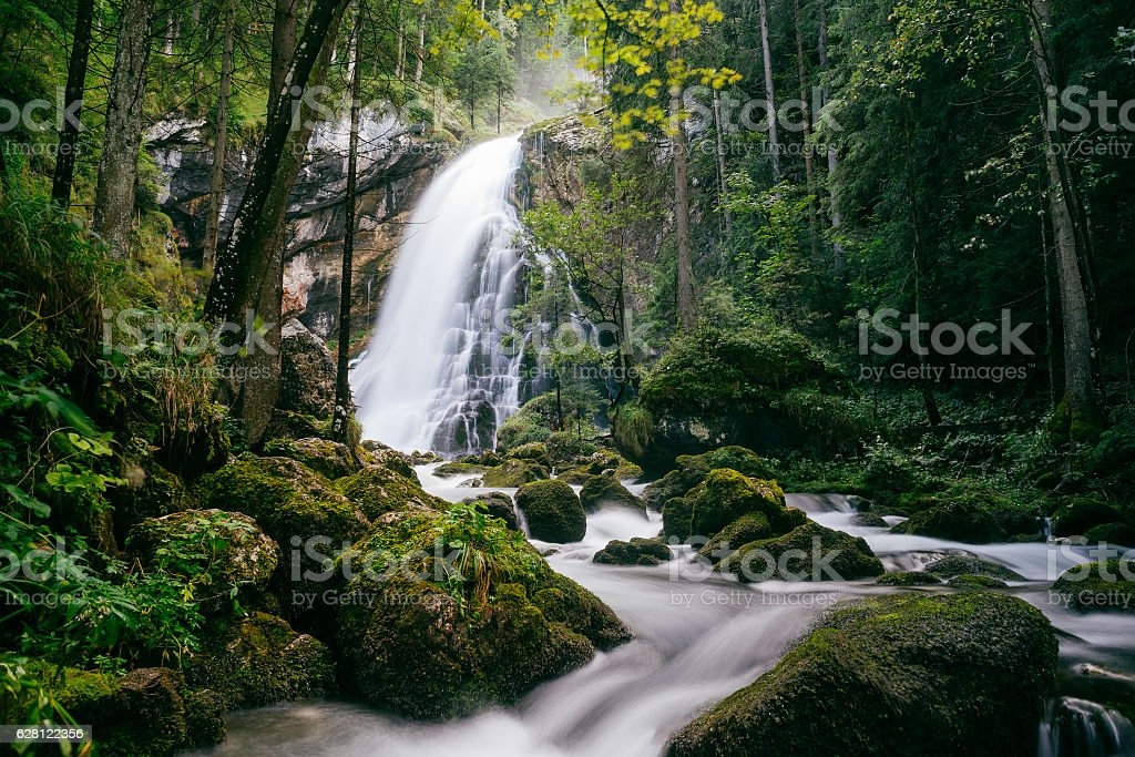 Gollinger waterfall long exposure view, Austria stock photo