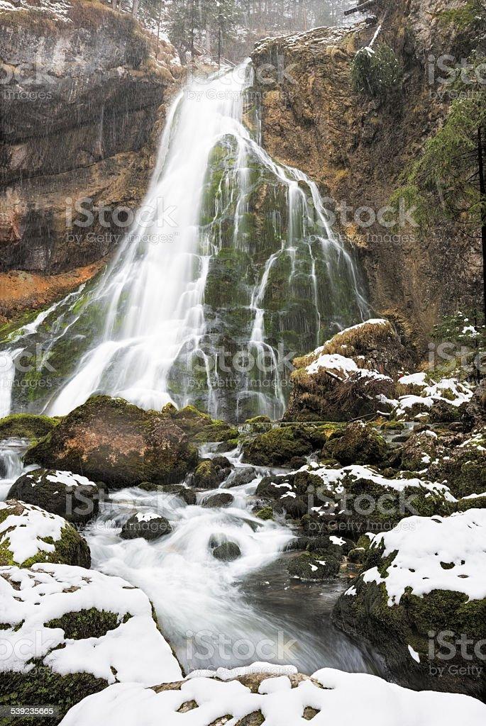 Gollinger Waterfalls at wintertime, Austria royalty-free stock photo