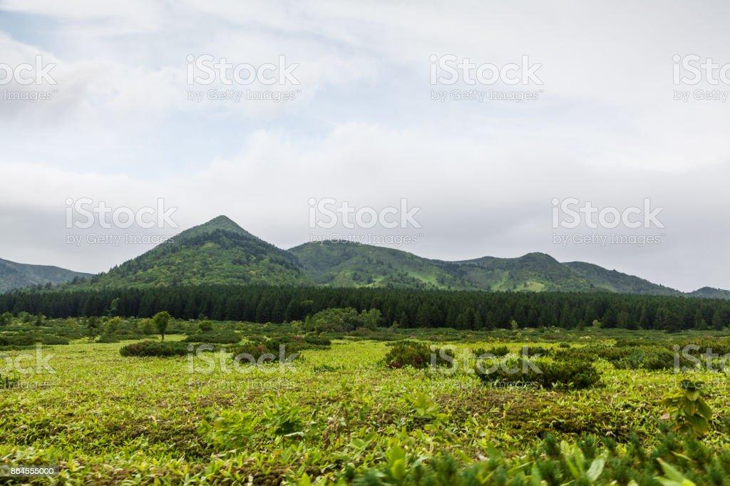 Golovnin peak. Kunshir island, Russia stock photo