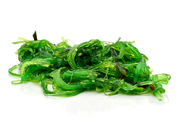 goma wakame or seaweed salad - algue photos et images de collection
