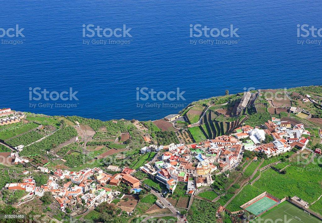 Gomera - Aerial view of Agulo from Mirador de Abrante stock photo