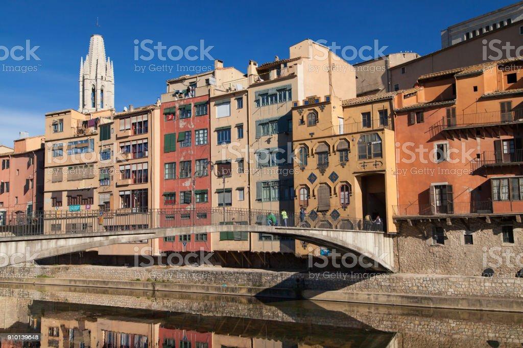 Gomez Bridge over the Onyar stock photo