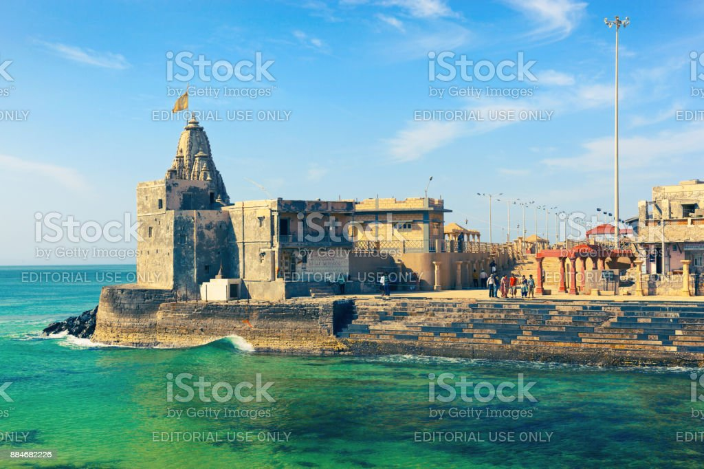 Gomti Sangam Ghat in Dwarka stock photo