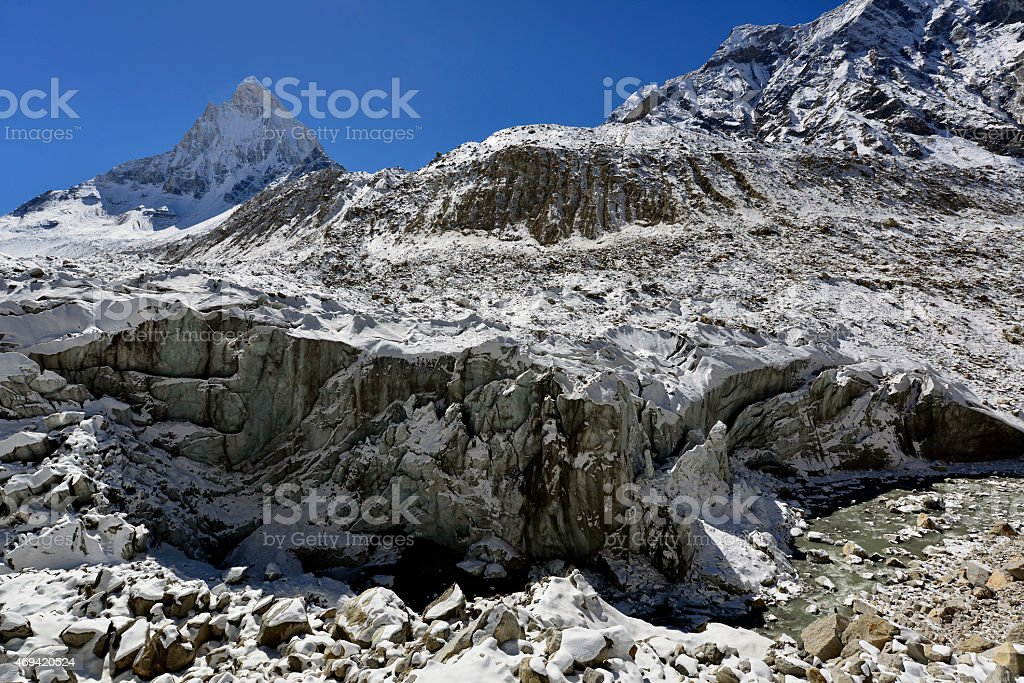 Gomukh (Gaumukh) origin of the Ganges river is Gangotri glacier stock photo