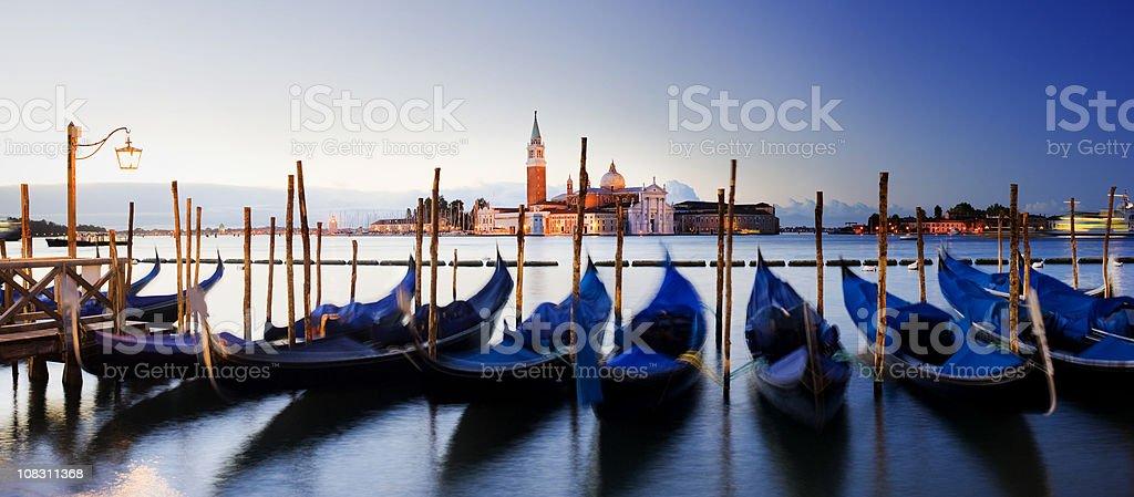 Gondalas and San Giorgio Maggiore Church in Venice Italy royalty-free stock photo