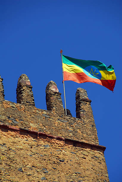 gondar, ethiopia, ethiopian flag, fasilidas castle - ethiopian flag stock photos and pictures
