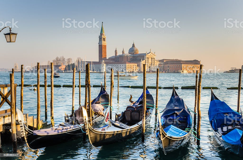 Gondoals in Venice at Sunset stock photo