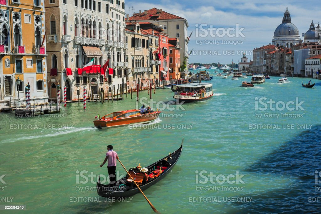 Gondola and boats on the Grand Canal stock photo