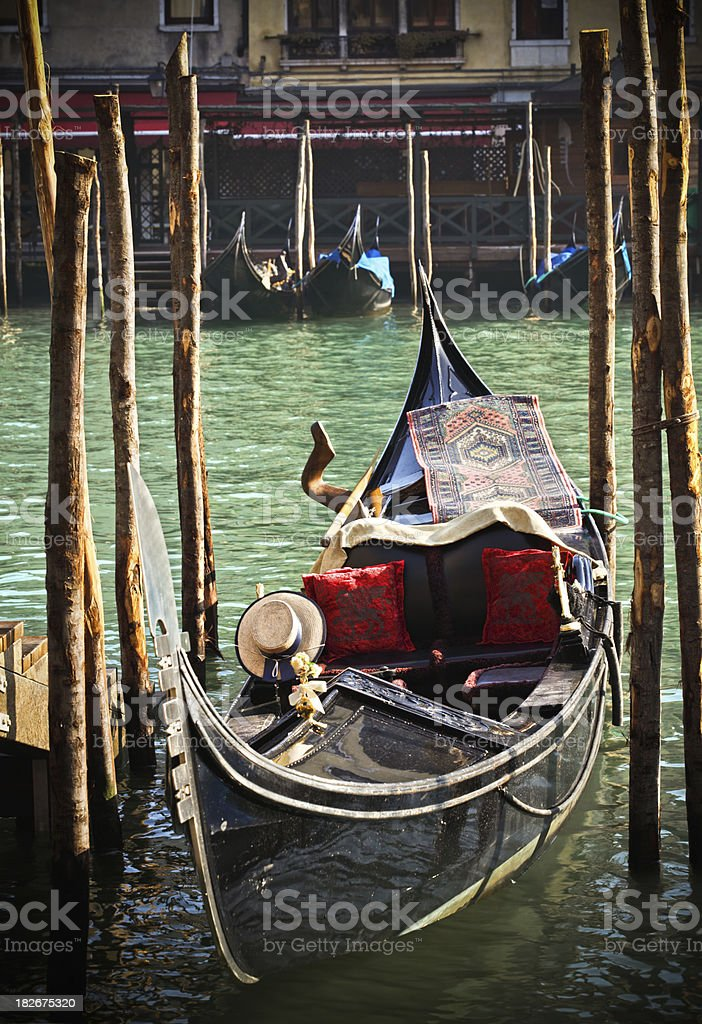Gondola and canal scene in Venice, Italy royalty-free stock photo