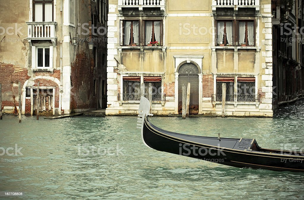 Gondola and canal scene in Venice, Italy royalty-free stock photo