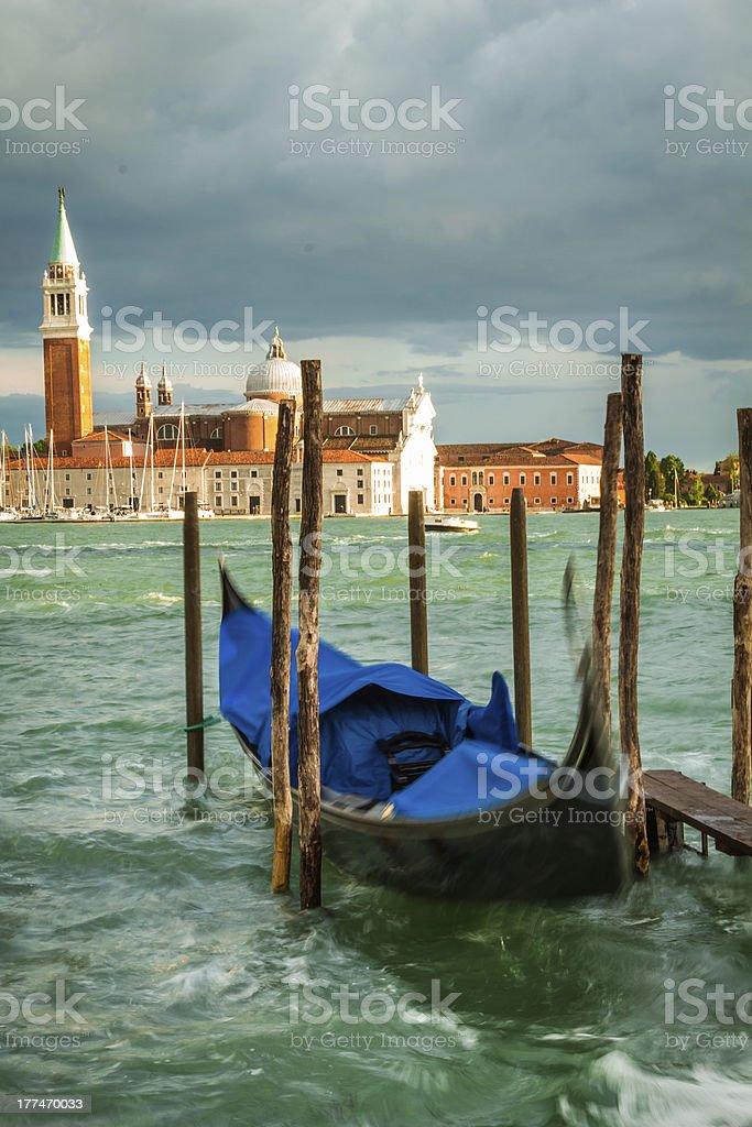 Gondola and Church of San Giorgio Maggiore in Venice royalty-free stock photo